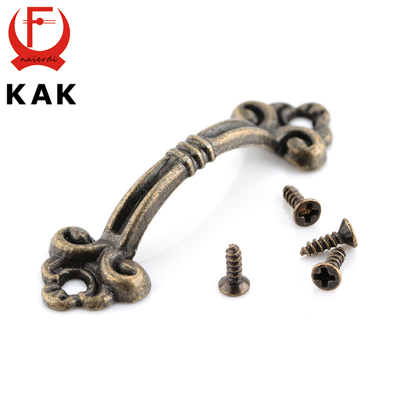 10pcs KAK Handles Knobs Pendants Flowers For Drawer Wooden Jewelry Box Furniture Hardware Bronze Tone Handle Cabinet Pulls 200pcs 18 15mm hinge brass bronze color flat wholesale small hardware for wooden box case cabinet drawer door funiture fix