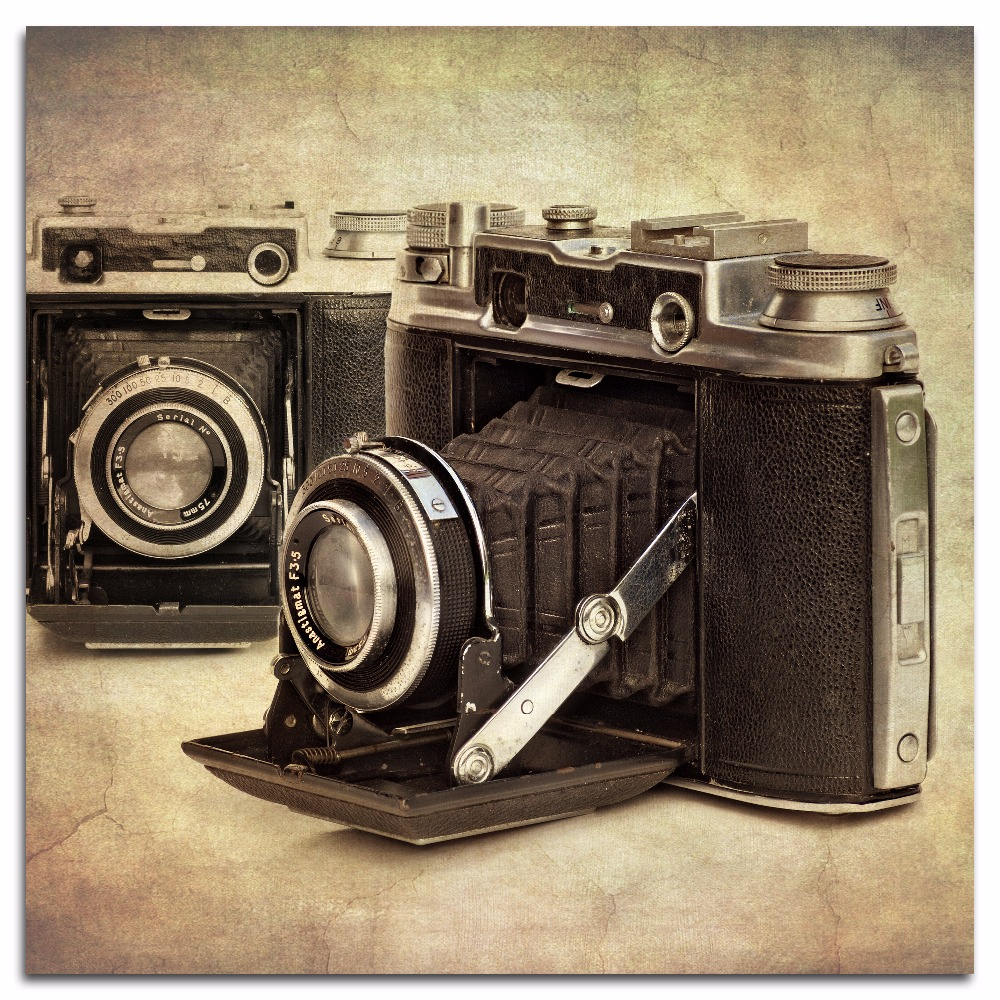 Camera vintage Old Hobbies SINGLE CANVAS WALL ART Picture Print Home Décor Items