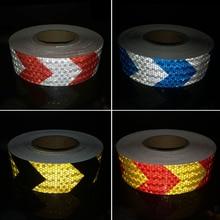 50mmx30m  Colors Arrow Pattern Mesh Reflective Ribbon Car Sticker Automotive Style Vehicle Truck Motorcycle Warning Tape цена