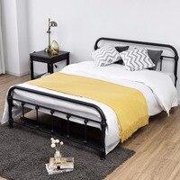 Giantex полный Размеры металла Сталь кровать Рамки w/стабильный металлическими планками изголовье подножка Мебель для спальни hw57398