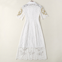 Milan New High Quality Runway Christmas 2018 Spring And Summer Fashion Women'S Party Office Vintage Girls Embroidery Lace Dress 3