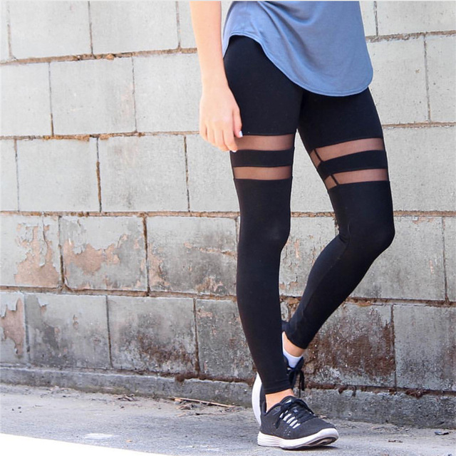 2017 Casual Black Sexy Mesh High Waist Elastic Leggings