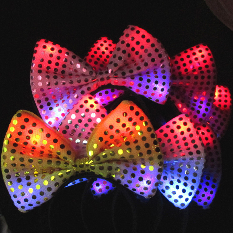 100pcs/lot Mickey Minnie Cosplay Hair Accessories Pink Yellow Red Purple LED Bowknot Headband for Adult Children Kids