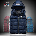 2016 Autumn and Winter Men's Colored Cotton Down Vest Casual Waistcoat Zipper Hooded Vest