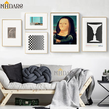 Classic Vintage Mona Lisa's Smile Canvas Print Painting Poster Vogue Abstract Art Wall Pictures for Living Room Home Decor(China)