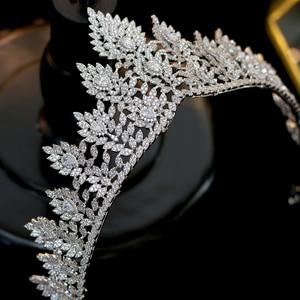 Image 3 - High quality zirconia wedding hair accessories bridal tiara award ceremony queen crown