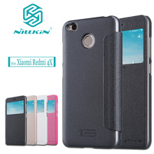 Xiaomi Redmi 4X Case NILLKIN Sparkle Flip Leather Business Smart View Window Phone Back Protective Cover for Xiaomi Redmi 4X