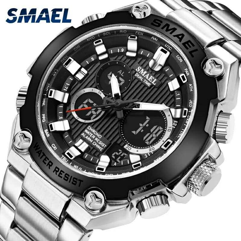 SMAEL Mens Watches Top Brand Luxury Quartz Wrist Watch Men Waterproof Male Clock Chronograph Sport Watch Relogio Masculino 1363