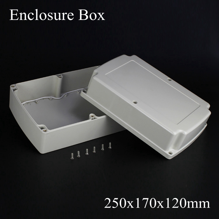 (1 piece/lot) 250*170*120mm Grey ABS Plastic IP65 Waterproof Enclosure PVC Junction Box Electronic Project Instrument Case waterproof abs plastic electronic box white case 6 size