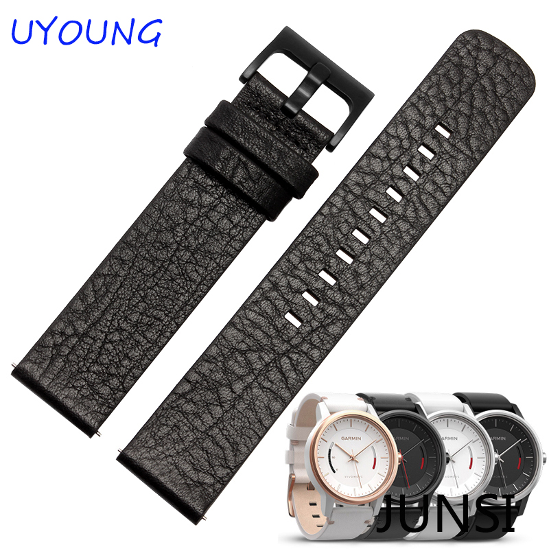 New arrival 22mm Genuine Leather Watchband For Garmin Vivomove Smart Watch Casual Strap genuine leather watchband 20mm black brown replacement leather wristband for garmin vivomove apac strap