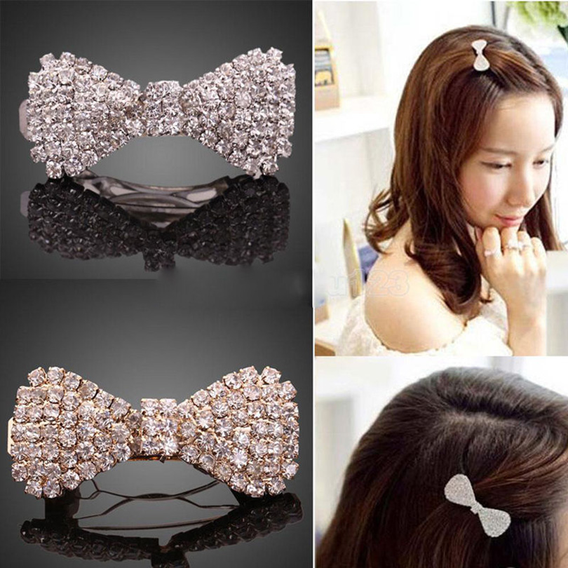 Haimeikang Fashion Women Crystal Rhinestone Bowknot Hairpin Hair Clip Hair Accessories Girls Bow Barrette Hair Clip for Women viborg audio 24k gold plated iec ac inlet iec input socket solder screws locking inlet