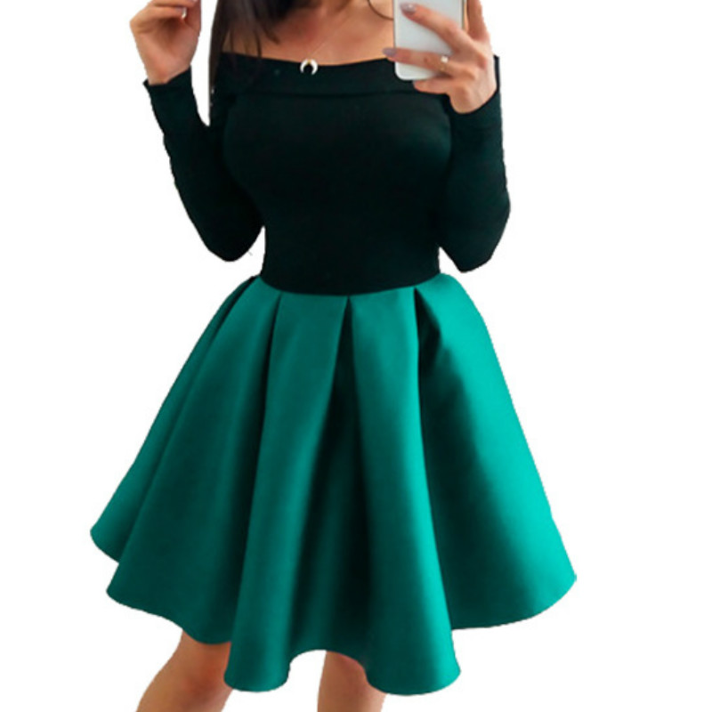 One-piece Kawaii <font><b>Dress</b></font> Girls Long Sleeve Slash Neck A-Line <font><b>Dresses</b></font> Female Ball Gown Party <font><b>Dresses</b></font> Oversize Winter GV228 image