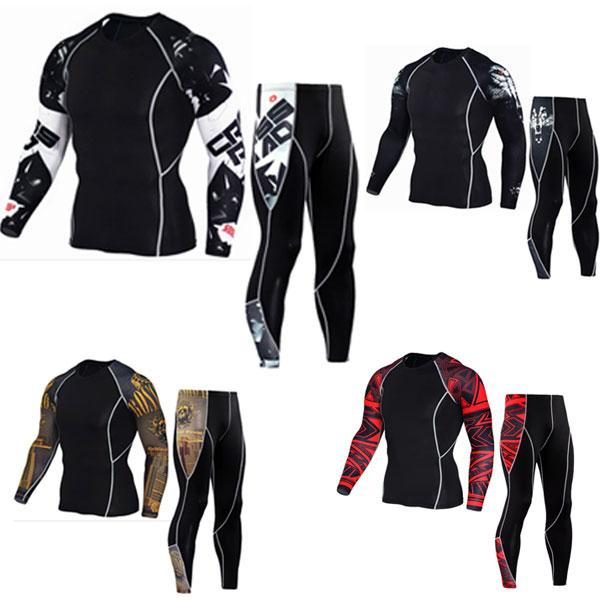 Uomo maniche Lunghe t-shirt 2017 union suit t-shirt MMA rashgard kit Abbigliamento Tops & Tees