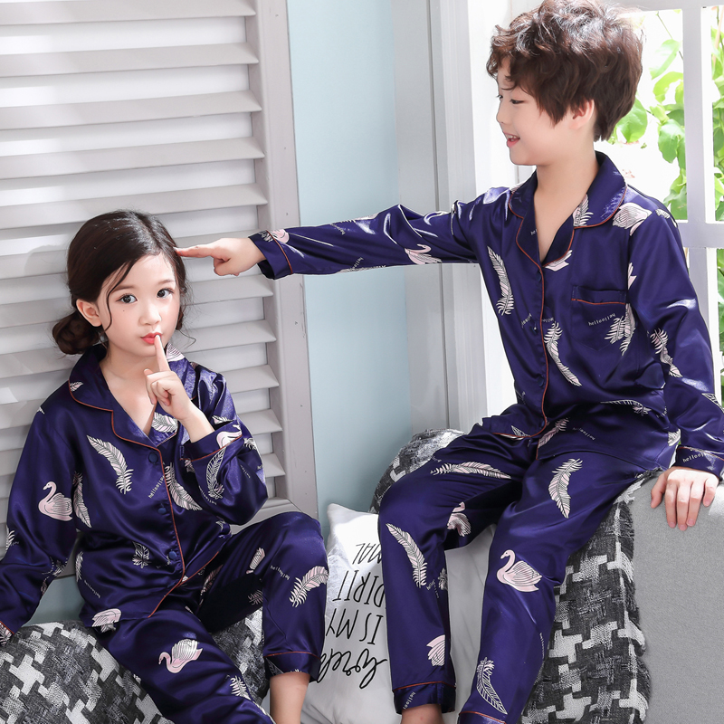Boys   pajamas   2018 spring and autumn long sleeve children's clothing sleepwear at home   pajamas   suit boys and girls pyjamas   sets