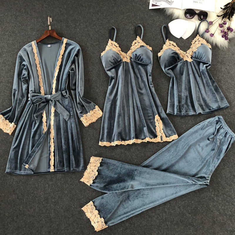 4 Pieces Velvet   Pajamas     Sets   Solid Color Lace Spaghetti Strap Nightgown Women Winter Pants Soft Pyjama with Chest Pads