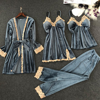 Women Winter Sexy Velvet Pajamas Sets with Pants Lace Spaghetti Strap Nightgown with Chest Pads Soft 4 Pieces Solid Color Pyjama