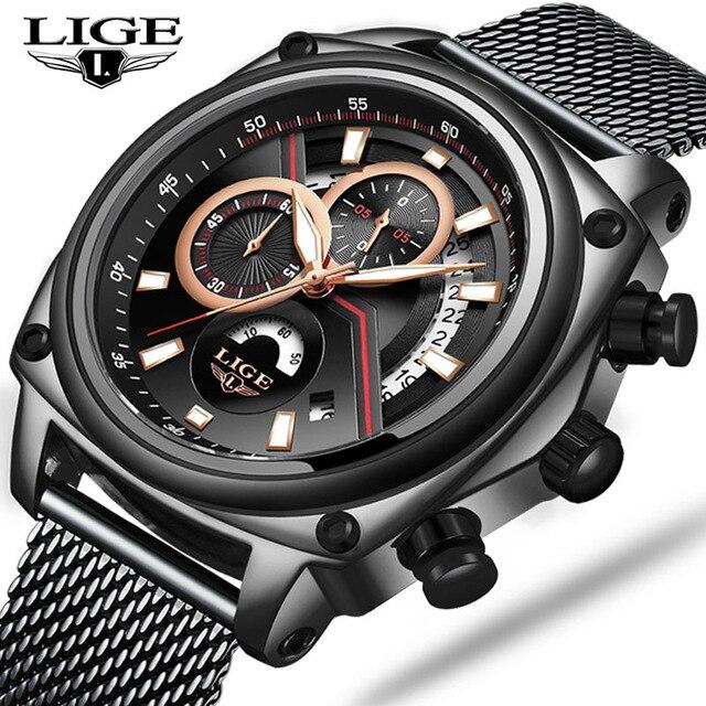 2019 LIGE new watches for men Top brand luxury waterproof wristwatch Date watch Quartz Watch Male Sport clock Erkek Kol Saati