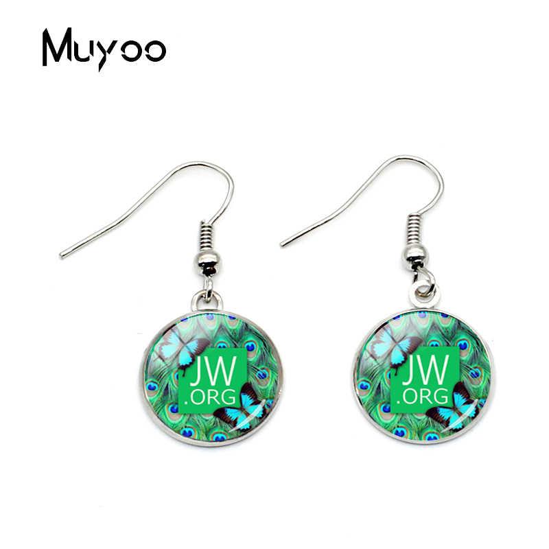 Nueva flor de moda JW. Orgg pendientes de gancho de pescado cúpula de cristal redonda Jehovah pendientes de plata para mujer Regalos de joyería cristiana