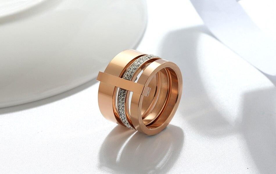 Multilayer Split Shank Steel Women's Band Ring Jewelry Rings Women Jewelry