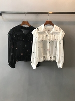 2018 autumn winter women's Lapel embroidered flower pattern decoration long sleeved flown shirt 1101