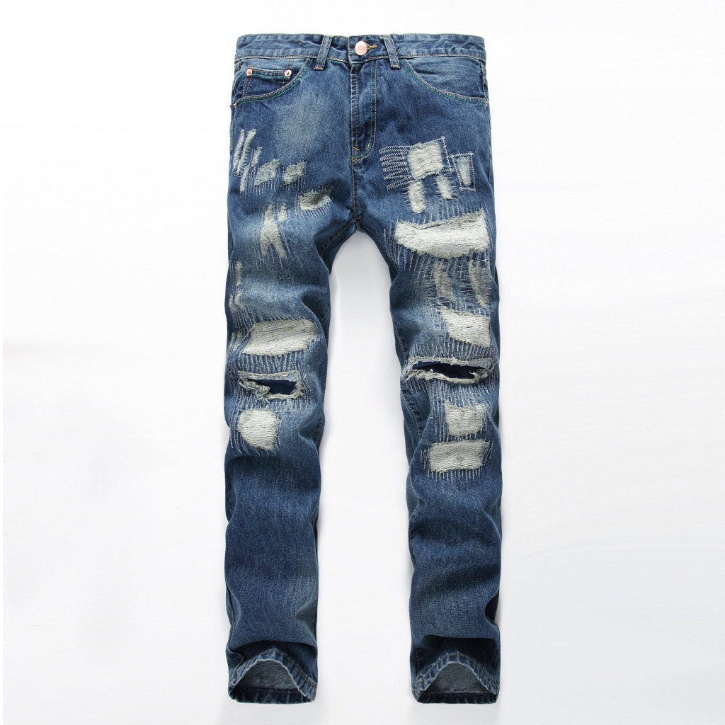 Men's Straight Patch Jeans Pants Mens Blue Denim Distressed Masculina Men Slim Fit Ripped Biker Jeans Homme N889 2017 fashion patch jeans men slim straight denim jeans ripped trousers new famous brand biker jeans logo mens zipper jeans 604