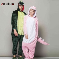 Winter Roze Groene Dinosaurus Pyjama Vrouwen Unisex Volwassen Dier Eenhoorn Pyjama Flanel Hooded Pyjama Sets Nachtkleding Pijamas