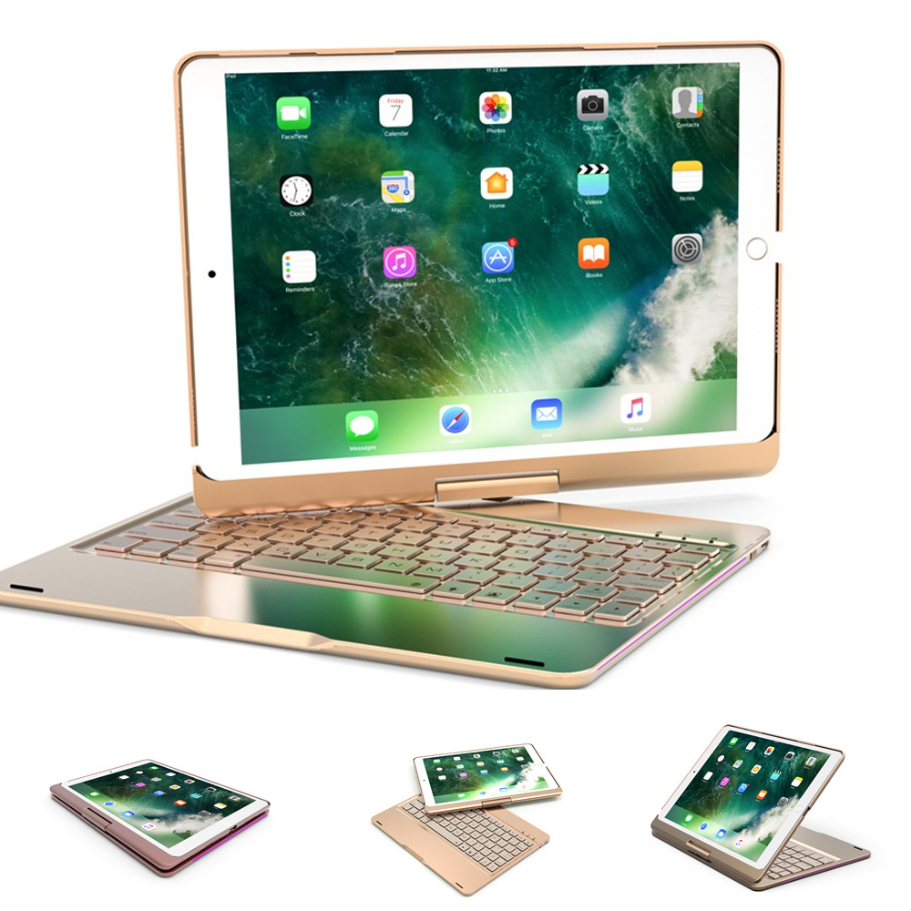 360 degree Aluminum Bluetooth Keyboard Protective Case with Stand for iPad Air 1 2 Pro 9