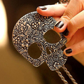 Bluelans Women's Vintage Gothic Carved Flowers Skull Pendant Long Sweater Chain Necklace