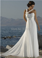 Free Shipping Hot Sale Popular Halter Beach Chiffon Wedding Dress Bridal Gowns With Flowers ZH0196
