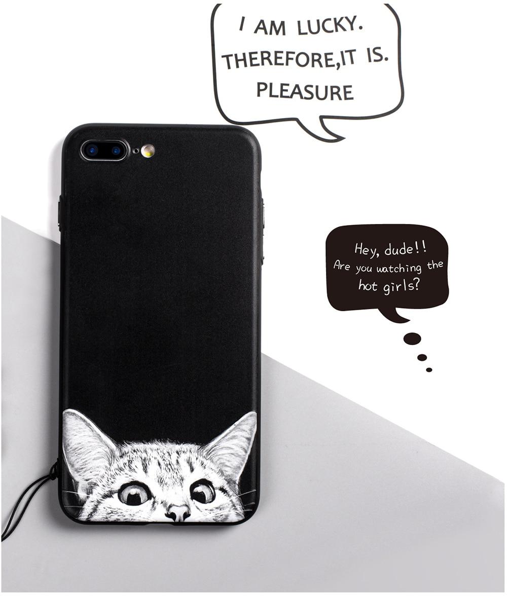Cat Design Black iPhone Case Cover