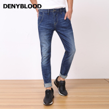 Denyblood Jeans 2017 Spring Summer Mens High Stretch Denim Pants Slim Straight Vintage Washed Jeans High Quality Trousers 828717