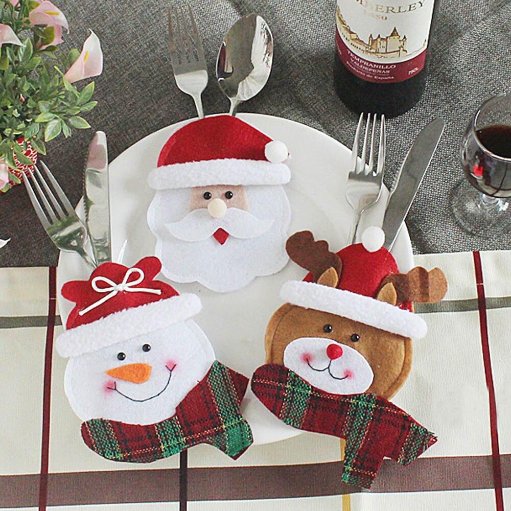 Hardwerkend Kerst Ornament Kerstman Herten Kerst Decoratie Thuis Tafel Bestek Pocket Vork & Mes Case Servies Covers