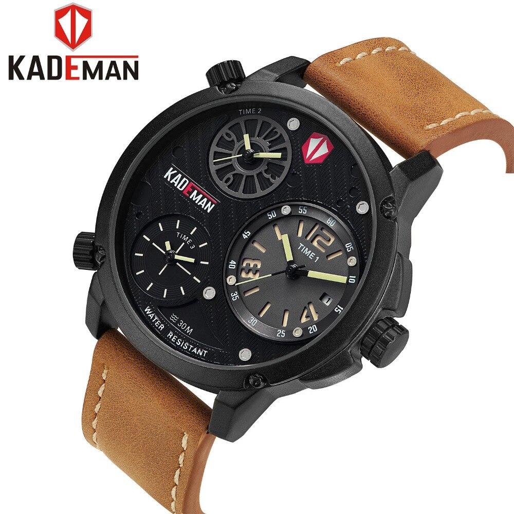 Brand Men Luxury Quartz Watch Newest Fashion Leather Waterproof male Sports Watches 3 Time Zone Military wrist watch KADEMA 6100 цена