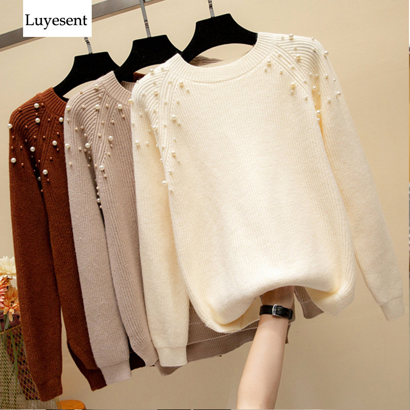 Women Pearl Solid Pullovers Sweaters Femme Loose Round Neck Full Sleeve Casual Warm Pullover Knitted Sweater 2019 Winter Top