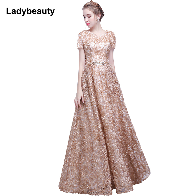 Ladybeauty 2018 Elegant Lace   Evening     Dress   Simple Sleeveless Small Flowers Prom   Dress   Long Party Gown