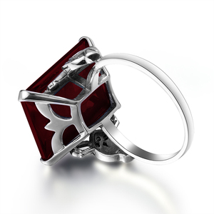 Image 4 - Szjinao Real 925 Sterling Silver Women Ring Garnet Vintage Square Gemstone Autrichien Edward Antique 2020 Jewelry Grosses Bagues