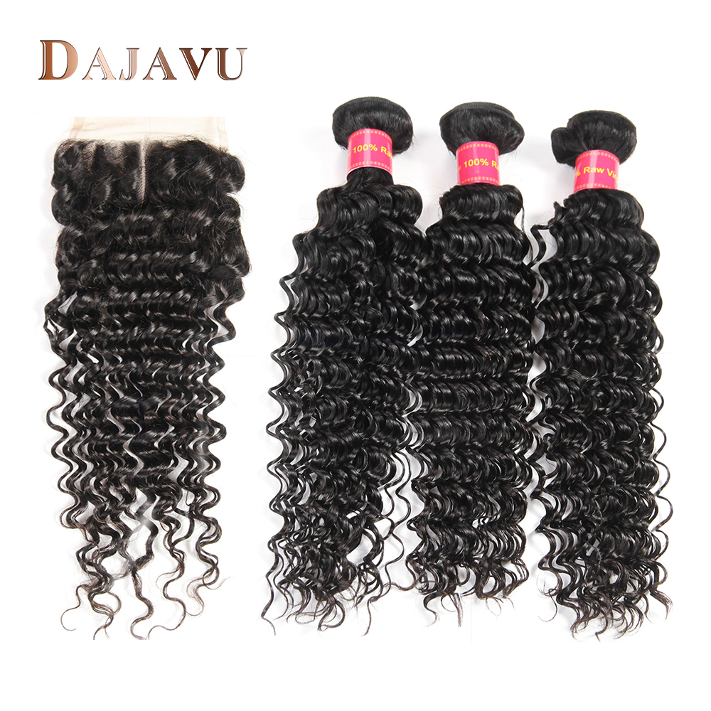 Dejavu Hair Brazilian Deep Wave 3 Bundles With Lace Closure Middle Part Human Hair Bundles With Closure Non Remy Hair Extension