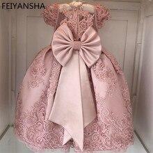Розовые вечерние платья с цветочным рисунком для девочек, vestido daminha пояс с жемчугом, бантом, рукавами-крылышками, платье с цветочным узором для девочек кружевное платье для первого причастия