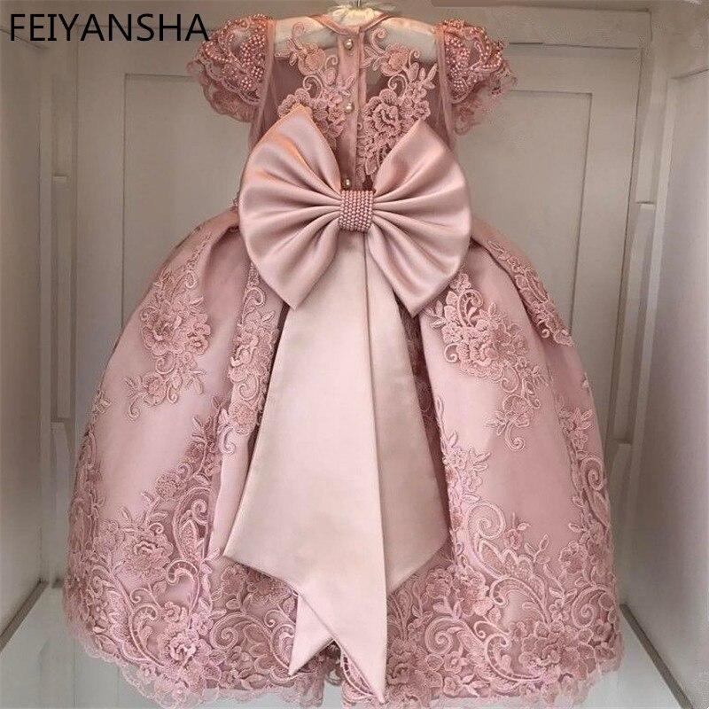 Robes de fleurs filles roses pour robe de soirée daminha perles ceinture Cap manches robe de demoiselle d'honneur robe de première Communion en dentelle