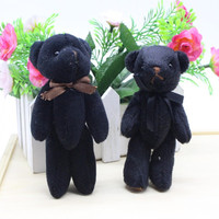 2pcs Cool Black Teddy Bear Keychain Pendant DIY Wedding Birthday Christmas Party Favor Supply Gifts For
