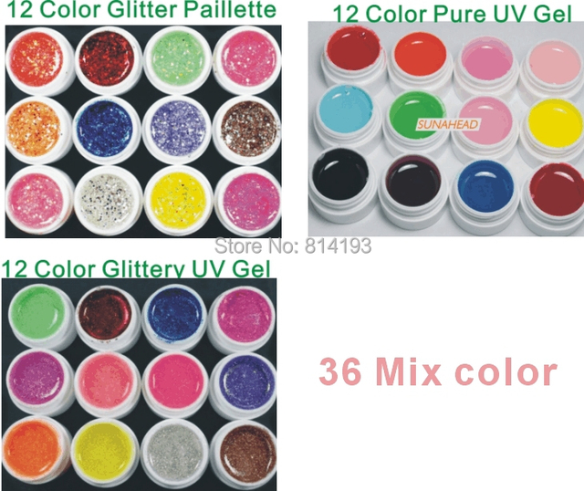 Nail Art 12 Color Pure Solid  Glitter Hexagon Sheet UV Builder Gel Tip tool Set