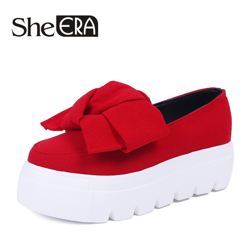 Spring Summer moccasin womens Fashion creepers shoes Bow women flats loafers Ladies Slip On Platform 5CM Shoes 2017 slipony