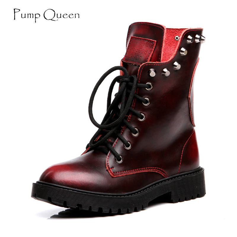Super Cool Style Motorcycle Boots 2018 Spring Women Boots Rivet Lace Up Plus Large Size 42 43 Wine Black Brown Color Rubber S