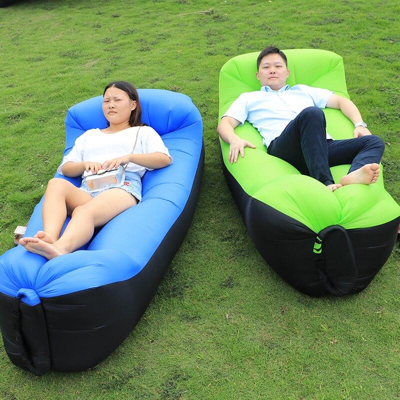 Discount For Waterproof Air Sofa Camping Beach Bed Inflatable Sofa Air Lounger <font><b>Bag</b></font> Banana Lazy <font><b>Bags</b></font> Outdoor Sleeping <font><b>Bag</b></font> Air Bed