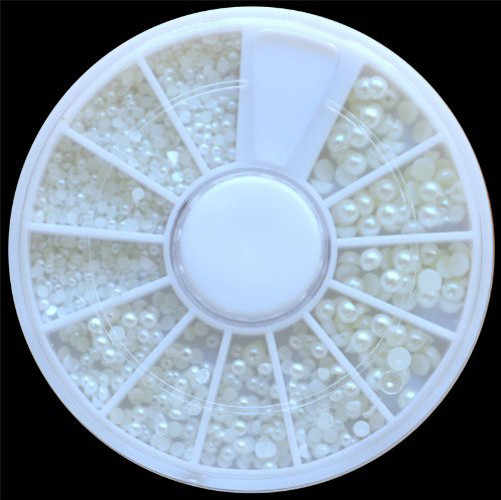 Hot Sale 1pc White Pearl Nail Art Stone Nail Art Decorations Different Size Wheel Rhinestones Beads Nails Accessoires