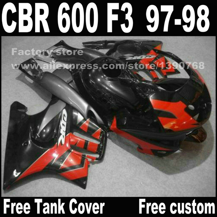 Motorcycle parts for HONDA CBR 600 F3 fairings 1997 1998 CBR600 F3 97 98 black red fairing kit plastic sets  D3