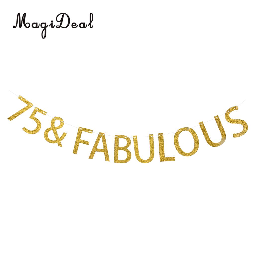 Glitter Gold 75 Fabulous Paper Bunting Banner 55th Birthday Party Home Garden Outdoor Lawn Hanging Decorations In Banners Streamers Confetti From
