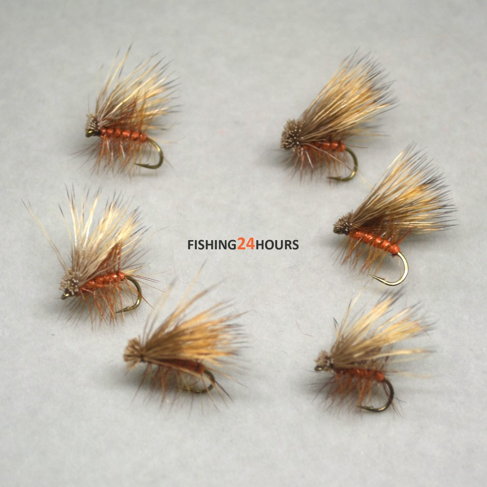 Caddis Trout Flies Olive Elk Hair Caddis Dry Fly Half Dozen 6 Flies