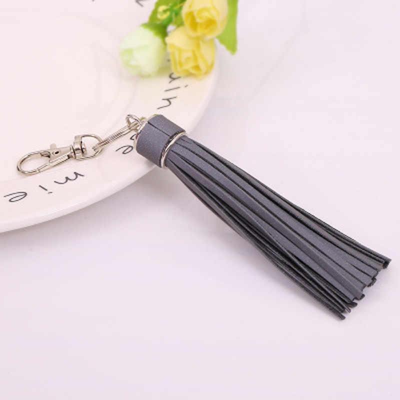 Корейская Светоотражающая бахрома из искусственной кожи с кисточками, меховые шаровые брелоки держатель ключей металлическая цепочка для ключей очаровательный брелок сумка автомобильный брелок