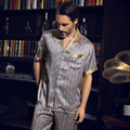 Brand Men 100% Silk Summer Sleepwear Short-sleeve 2 Piece Sets Classic Silk Pajama Twinset L/XL/XXL Free Shipping